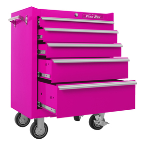 "The Original Pink Box 26"" 5 Drawer 18G Steel Rolling Pink Tool Cabinet"