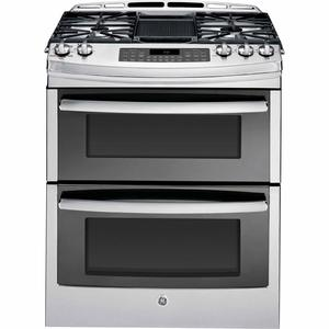 """GE Profile™ Series 30"""" Slide-In Gas Range w/ Convection - Stainless Steel"""