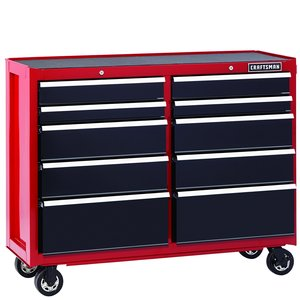 Craftsman 52-Inch 10-Drawer Heavy-Duty Rolling Cart - Red/Black