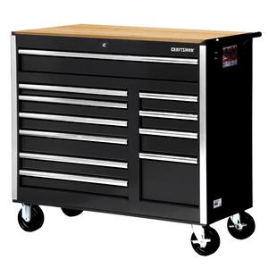 "Craftsman 42"" 11-Drawer DIY Ball Bearing Slides Cabinet With Hard Wood Top, Black"
