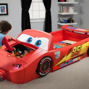 Delta Children Disney Cars Convertible Toddler to Twin Bed with Lights and Toy Box