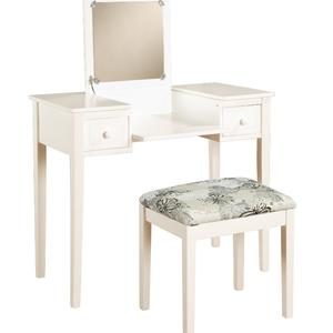 Linon Vanity Set White Butterfly Bench