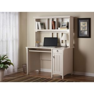 Bush Salinas Mission Desk & Hutch in Antique White Finish