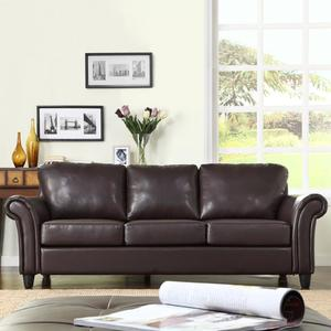 Oxford Creek Contemporary Sofa in Dark Brown Faux Leather