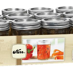 Kerr Half-Pint (8oz) Mason Jars, 12 Pack