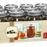 Kerr Pint (16oz) Mason Jars with Lids & Bands, 12 Pack