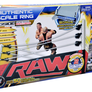 WWE Authentic Scale Ring w/ Raw & SmackDown Ring Skirts - Ringside Collectibles Exclusive Toy Wrestling Action Figure Playset