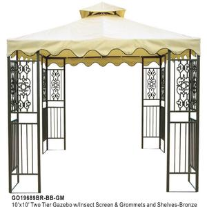 DC America 10'x10' Two Tier Steel frame Gazebo, Beige Top with Brown Edge and 8 Grommets