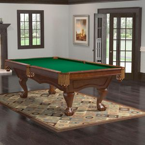 Brunswick Broadmoor 8' Chestnut Billiard Table with Ball and Claw Legs - DELIVERY, INSTALLATION, AND BONUS PLAY PACKAGE INCLUDED