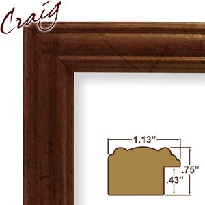 "Craig Frames Inc 7x10 Custom 1.13"" Wide Complete Dark Walnut Picture Frame (71616583)"