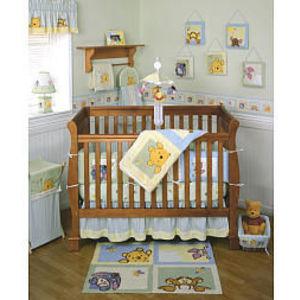 Kidsline Soft & Fuzzy Pooh 4-Piece Crib Bedding Set