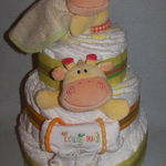 Diaper Cakes by Becca Orange and Yellow Giraffe Diaper Cake