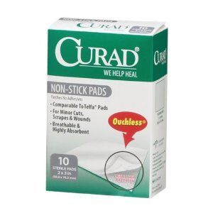 """Curad Ouchless Non-Stick Pad With Adhesive Tabs - 2"""" x 3"""" (Model CUR47146)"""