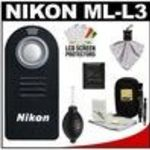 Nikon ML-L3 Wireless Infrared Shutter Remote Control + Nikon Cleaning Accessory Kit for D7000, D5000... Tripod