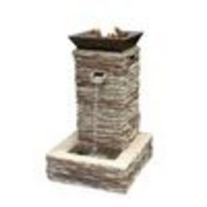 Bond Mfg Outdoor fire pit fountain combo stone finish steel p - (Bond Manufacturing)
