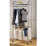 Household Essentials 3 Bag Laundry Sorter with Hanging Bar - Premium Chrome