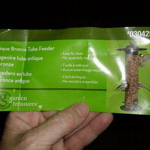 Garden Treasures Antique Bronze Tube Bird Feeder 0304258