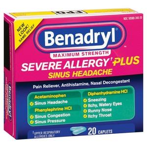Benadryl Severe Allergy Plus Sinus Headache Relief Caplets