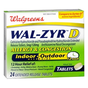 Walgreens Wal-Zyr D Allergy & Decongestant Extended Release Tablets