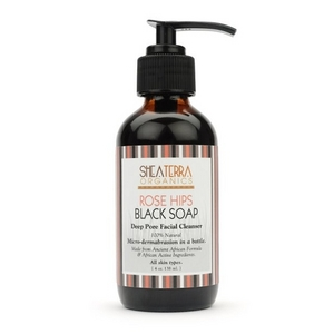 Shea Terra Rose Hips Black Soap Deep Pore Face Wash and Mask