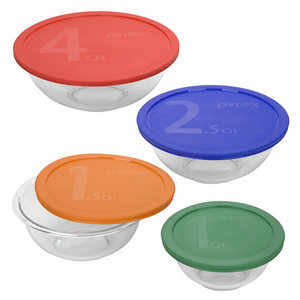 Pyrex 8-pc Mixing Bowl Set w/Color Covers