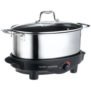 West Bend 6-Quart Versatility Slow Cooker with Glass Cover, Stainless