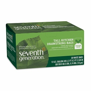 Seventh Generation Drawstring Tall Kitchen Bags, 13 Gallon