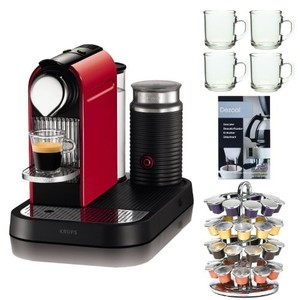 Nespresso CitiZ D120 Espresso Maker w/ Aeroccino Milk Frother in Red + 4 Piece 10 oz. ARC Handy Glass Coffe Mug + 40 Capsule Coffee Carousel + Urnex Dezcal Home Activated Coffee/Espresso Descaler