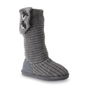 Bearpaw Girl's Knit Tall Gray Boot