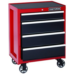 Craftsman 26 in. 4-Drawer Heavy-Duty Ball Bearing Rolling Cabinet - Red/Black