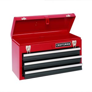 Craftsman 3-Drawer Metal Portable Chest-Red/Black