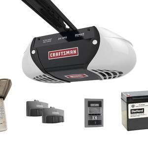 Craftsman ¾ HPS* Ultra-Quiet Belt Drive Garage Door Opener with DieHard® Battery Backup, two Multi-Function Remotes and Keypad