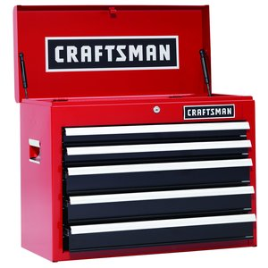 Craftsman 26 in. 5-Drawer Heavy-Duty Ball Bearing Top Chest - Red/Black