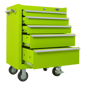 "Viper Tool Storage 26"" 5 Drawer 18G Steel Roller Cabinet, Lime"
