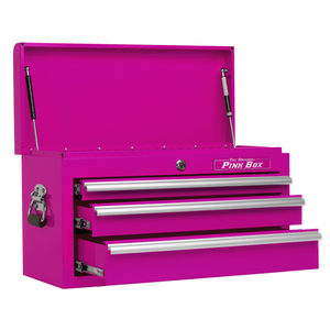"""The Original Pink Box 26"""" 3 Drawer Pink Top Chest"""