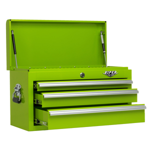 """Viper Tool Storage 26"""" 3 Drawer 18G Steel Top Chest, Lime"""