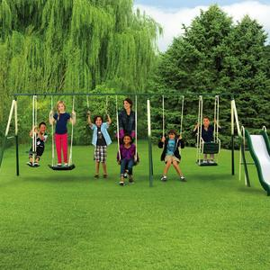 Sportspower Adventure Play II 9-Play Metal Backyard Swing Set with Slide
