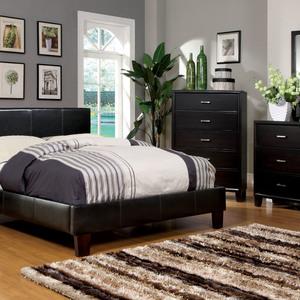 Furniture of America Itala Espresso Leatherette Platform Bed - Queen Size