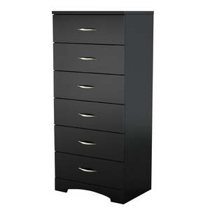South Shore Black Majestic Tall 6-Drawer Dresser