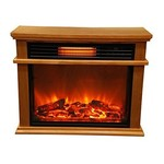 Lifesmart Life Pro Easy Large Room Infrared Fireplace Includes Deluxe Mantle In Burnished Oak & Remote