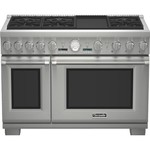 """Pro Grand 48"""" Pro-Style Dual-Fuel Range With ExtraLow Simmers 5.7 cu. ft. Primary True Convection Oven 22 000 BTU Power Burner Electric Griddle All Telescopic Racks & 6"""