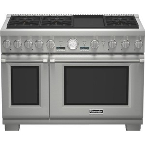 "Pro Grand 48"" Pro-Style Dual-Fuel Range With ExtraLow Simmers 5.7 cu. ft. Primary True Convection Oven 22 000 BTU Power Burner Electric Griddle All Telescopic Racks & 6"