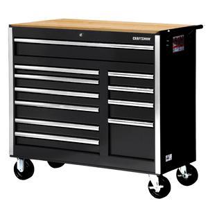 """Craftsman 42"""" 11-Drawer DIY Ball Bearing Slides Cabinet With Hard Wood Top, Black"""