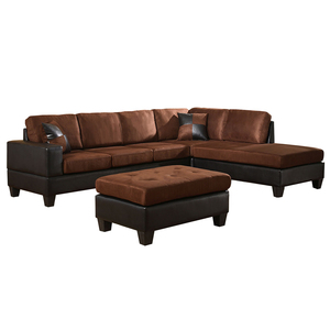 Venetian Worldwide Dallin Sectional Sofa and Ottoman - Chocolate - Right Side Chaise