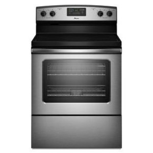 """Amana AER5630BAS 30"""" Freestanding Electric Range with 4 Ribbon Radiant Elements, 4.8 cu. Ft. Capacity Self-Cleaning Oven, Extra-Large Oven Window and Storage Drawer: Stainless Steel"""