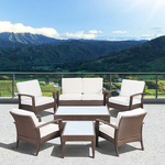 Atlantic Santorini Deluxe 7 Piece Brown Synthetic Wicker Patio Seating Set With Off-White Cushions