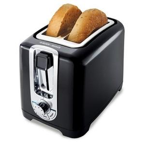 Black & Decker TR1256B 850-Watt 2-Slice Toaster with Bagel Function, Black/Silver